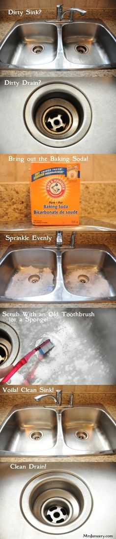 Clean a stainless steel sink with baking soda. | 37 Smart Ways To Clean Your Kitchen For Spring