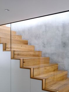 Wood stairs sandwiched between a concrete wall and glass safety railing guide…