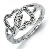 Sterling Silver White Diamond Heart Ring - Promise Ring