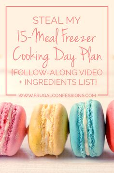Don't have children? Mothers and Fathers are not the only ones who can reap the time and money rewards from conducting a freezer cooking day. | http://www.frugalconfessions.com/food/steal-15-meal-freezer-cooking-day-plan-follow-along-video-ingredients-list.php