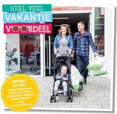 Aanstaande zondag zijn onze winkels in Beverwijk, Capelle a/d ijssel, Leeuwarden, Heerlen en Roosendaal open van 12.00-17.00 uur.  Kom alleen dit weekend nog profiteren van heel veel vakantievoordeel! #BabyandMother #BabyClothing #BabyCare #BabyAccessories