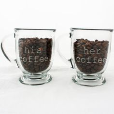 His Coffee, Her Coffee. Etched Glass Mugs. Engraved glassware for kitchen decor or unique gift idea via Etsy