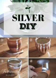 diy, home, decor, silver, plant,