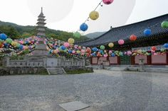 temple and mountain in busan