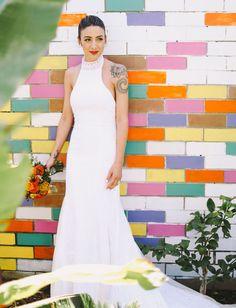 gorgeous halter wedding gown