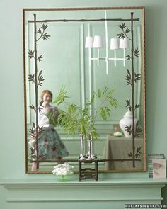 Update an old mirror with this Stencil How-to.