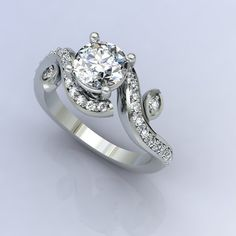14k white gold diamond engagement ring with by EternityCollection