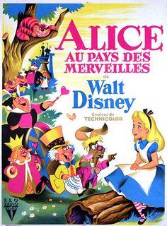 Vintage Disney Alice in Wonderland: French Movie Poster - Petite Affichette