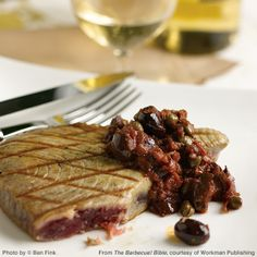 Grilled Tuna with red wine, caper and olive sauce