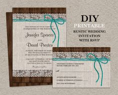 Printable Rustic Wedding Invitation With RSVP Card by iDesignStationery, $19.95 #Rustic #Wedding #Etsy