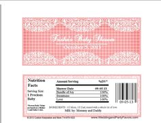 Baby Shower Lace Candy Bar Wrappers Pink Gingham BDAY 5536 W