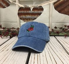 RED ROSE Baseball Cap Low Profile Dad Hats Baseball Hat Embroidery Light Denim  ✷ Baseball Cap ✷ Light Denim ✷ One Size adjustable strap, buckle design may vary ✷ 100% Cotton ✷ Great fit and soft quality - Guaranteed! ✷ Still dont see the color combination you want? Just ask we can usually make it for you :)  ✷ Shipping from Long Beach, CA  ✷ Embroidered here at Prfcto Lifestyle  ✷ If you have any questions or concerns please feel free to send us a message