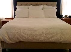 Real Reader Build from The Design Confidential of the Emmerson King size bed with tufed headboard