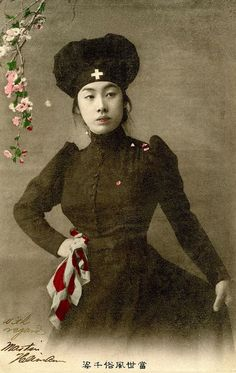 Japanese Nurse dressed in Black 1905. Red Cross Nurses were a symbol of modernity and of Japan's commitment to humanitarian ideals, during the Russo-Japanese War (8 February 1904 – 5 September 1905). Postcards reflected this by updating the age old...