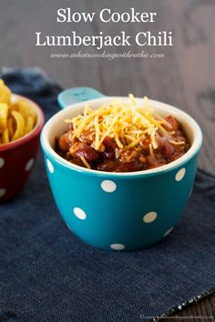 Slow Cooker DELICIOUS Lumberjack Chili Recipe by whatscookingwithruthie.com #recipe