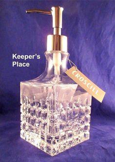 Croscill Cut Glass Soap Lotion Dispenser Pump Square Vintage Decanter Style #Croscill