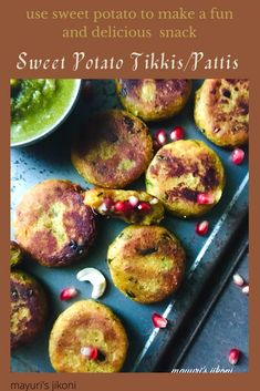 Relish Sweet Potato Tikki or Patties as a snack or serve as a starter with a dip. Enjoy it for the upcoming Navratri Fasting as its Farali. A fun way to enjoy the nutritional benefits of sweet potato. #glutenfree #veganfood #NavratriSpecial #tikki #patties #sweetpotato #ekadashifood #vrat #snack #indiansnack #indiancuisine Gourmet Appetizers, Appetizer Recipes, Side Dishes Easy, Side Dish Recipes, Yummy Snacks, Yummy Food, Tasty, Vegetarian Recipes, Healthy Recipes