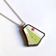 Broken China Jewelry Pendant  Modern Christmas by TheBrokenPlate