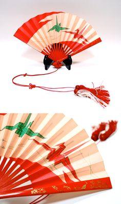 Origami Cranes SENSU Red And White Tassels Japanese Orizuru Hand Fan Traditional Auspicious Pattern Shoukaku