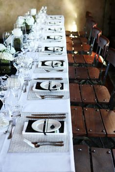 Rustic black and white table setting- New Zealand Wedding