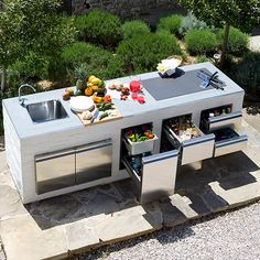 70 Awesomely clever ideas for outdoor kitchen designs kitchen BBQ Outdoor Bbq Kitchen, Outdoor Kitchen Countertops, Patio Kitchen, Summer Kitchen, Outdoor Kitchen Design, Outdoor Cooking, Outdoor Kitchens, Outdoor Entertaining, Kitchen Island