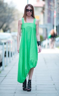 Maxi Dress / Oversize Kaftan Linen Dress / Extravagant Long Green Dress by Eugfashion
