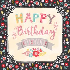 Louise Anglicas - LAS Happy Birthday Card Folk Floral Scroll Script Font