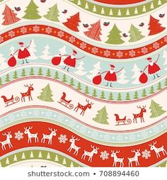 Scandinavian Seamless Pattern Stock Vector (Royalty Free) 90694426 Christmas Background, Pattern Paper, Color Patterns, Vintage Christmas, Scandinavian, Christmas Sweaters, Royalty Free Stock Photos, Greeting Cards, Illustration
