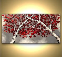 Painting 48 Silver Birch Abstract Painting  Modern by OsnatFineArt