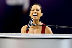 "The beautiful Alicia Keys singing ""The Star-Spangled Banner"" at the 2013 Super Bowl"