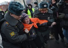 Human Rights in Russia, Worst Since Soviet Era, Says Rights Group. Russian police arrest an unauthorized activist during a protest marking one year since the start of protests against Vladimir Putin, in Moscow, on Dec. 15, 2012. Human Rights Watch says the rights situation in Russia today is the worst since the communist era. (Natalia Kolesnikova/Getty Images)
