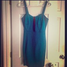 Forever21 Teal Bodycon Going Out Dress Nwot