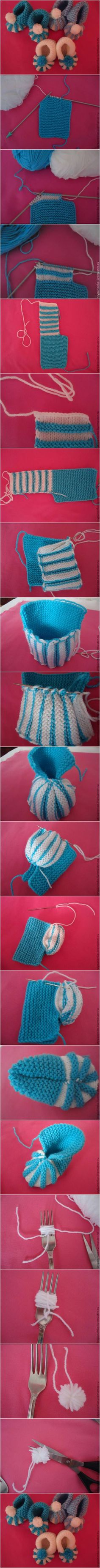 How to DIY Cute Pom-pom Decorated Knitted Baby Booties #craft #knitting #pattern #booties