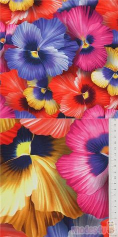 "fabric with pansies in yellow, purple, coral etc., Material: 100% cotton, Fabric Type: smooth cotton fabric, Pattern Repeat: ca. 59cm (23.2""), Fabric Width: 112cm (44"") #Cotton #Flower #Leaf #Plants #DigitallyPrinted #USAFabrics"