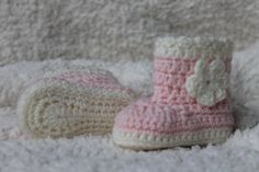 Crocheted Girls Baby Boot style Booties in by KidsCreationsOz, $16.00