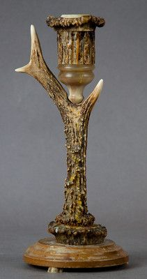 antique black forest antler candle holder   ca. 1920