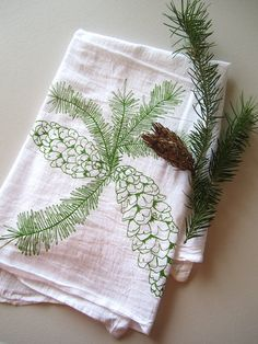 Organic Cotton Tea Towel Screen Printed.  A pretty Chritmas-time burp cloth (just when Baby will need them!).  -KWA