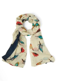 Flight on Time Scarf. Before you fly out the door, dont forget to top your outfit with this bird-print scarf for a pop of colorful pizzazz.  #modcloth