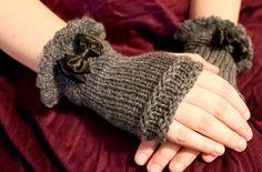 #crafttuts+ #crafttutorials Grey wool fingerless gloves. $24.00, via Etsy.