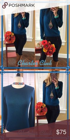 Charter Gulp! Lots of sellers remorse lately () but it's a tad to short for me now!. Brand new tags 100 percent cashmere luxury twilight teal sweater. Ten times more amazing on, in person and feels like luxury!. Omg if nothing else, yes! Offer in. This baby needs a good home... Charter Club Sweaters Crew & Scoop Necks