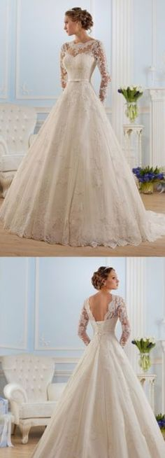 Tulle A Line Long Sleeves Wedding Dresses Scoop With Applique And Sash Item Code. - Tulle A Line Long Sleeves Wedding Dresses Scoop With Applique And Sash Item Code. Long Sleeve Wedding, Wedding Dress Sleeves, Dream Wedding Dresses, Bridal Dresses, Bridesmaid Dresses, Dresses With Sleeves, Tulle Wedding, Wedding Dress With Sash, Gown Wedding