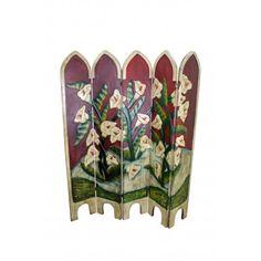 Room Divider - Iris Flowers Hand Painted Furniture