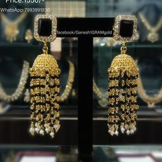 Stunning night party attraction jumkhi studded with black and white color Czs. Gold Earrings, Gold Necklace, Drop Earrings, Bridal Jewelry, Gold Jewelry, Gold Bangles Design, Black And White Colour, Lockets, Indian Bridal