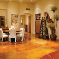 As you prepare for Valentine's Day and nights, sports and sweets . Prepare to meet the Lord Almighty Stained Cement Floors, Diy Concrete Stain, Concrete Floors, Unique Flooring, Cool Rooms, Dining Room Design, Home Projects, New Homes, Dining Table