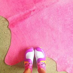 Marimekko clogs on hot pink cowhide (for sale over at www.alexfultondesign.com) So obsessed with this cow hide