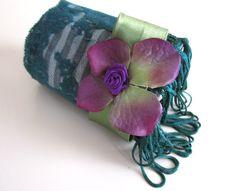 Bohemian Textile Fabric Wrist Fiber Cuff Upcycled Womans Jewelry Boho Bashion Embroidered Bracelet Flower Bracelet Green Cuff FREE SHIPPING #bestofEtsy #etsyretwt