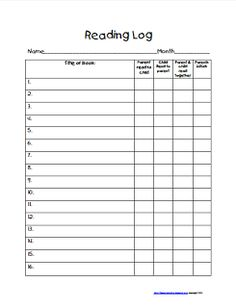 Freebie! Reading Log for Guided Reading