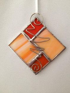 Stained Glass Christmas Ornament: Orange Square by Mama Agee on Etsy, $5.00 by zelma