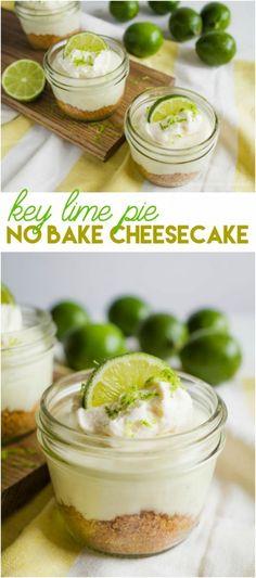 No Bake Mini Key Lime Cheesecake recipe. Easy dessert idea! Great summer dessert recipe. Love this no bake cheesecake recipe, yum! Key lime cheesecake recipe, mmm!