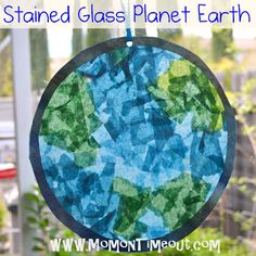 Stained Glass Planet Earth is the perfect Earth Day craft project for the kids. (Mom On Time Out)